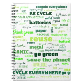 Cadernos Espiral Reduza, reúso, recicl a nuvem da palavra