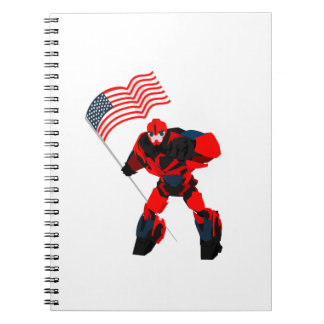 Cadernos Espiral Robô com os meninos da bandeira americana para 4o