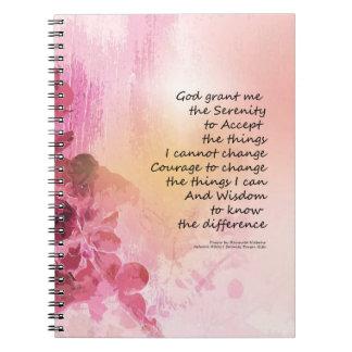 Cadernos Espiral Rosa da cerca 3 do marmelo da oração da serenidade