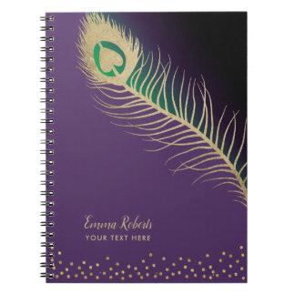 Cadernos Espiral Roxo elegante da pena de pássaro do pavão do ouro