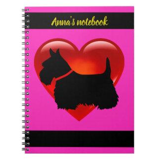 Cadernos Espiral Scottish coração de Terrier nome pretos/brancos da
