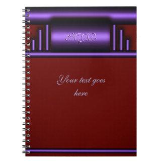 Cadernos Espiral Seu monograma no art deco de luxe roxo e marrom