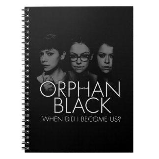 Cadernos Espiral Silhueta órfão do preto   três Sestras