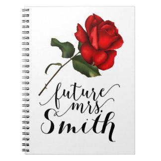 Cadernos Espiral Sra. futura floral Glam elegante da rosa vermelha