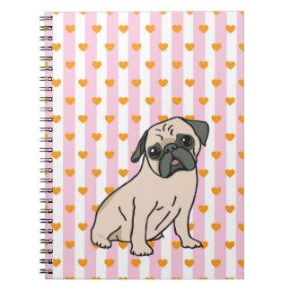 Cadernos Espiral Surrupias Pug com queridos