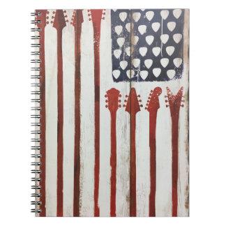Cadernos Espiral Tema patriótico da música da guitarra da bandeira