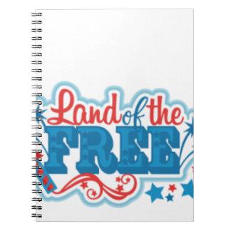 Cadernos Espiral Terra dos presentes americanos Livres, liberdade