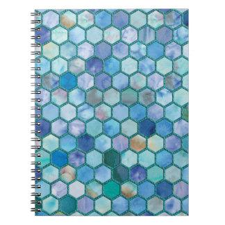 Cadernos Espiral Teste padrão azul do favo de mel do Aqua luxuoso