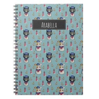 Cadernos Espiral Teste padrão da aguarela dos marinheiros do gato e
