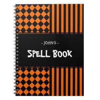 Cadernos Espiral Teste padrão da mistura do Dia das Bruxas