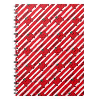 Cadernos Espiral Teste padrão das listras do vermelho do Sr. Forte