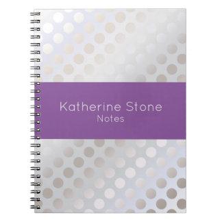 Cadernos Espiral Teste padrão de bolinhas de prata do falso à moda