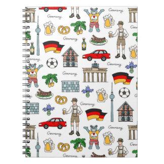 Cadernos Espiral Teste padrão dos símbolos de Alemanha |