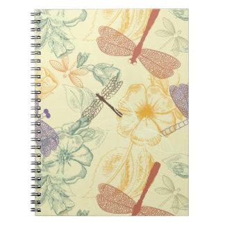 Cadernos Espiral Teste padrão floral na folha da libélula do estilo