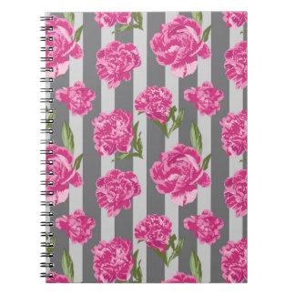 Cadernos Espiral Teste padrão sem emenda da peônia listrada do rosa