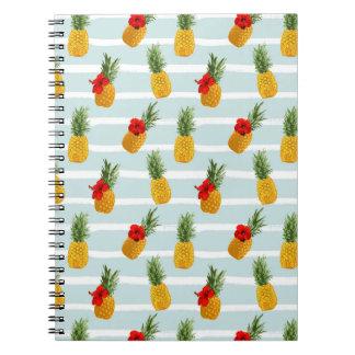 Cadernos Espiral Teste padrão sem emenda do abacaxi havaiano do