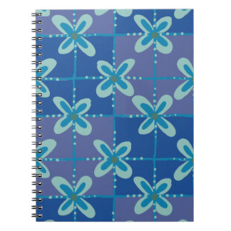Cadernos Espiral Teste padrão sem emenda do batik floral azul da