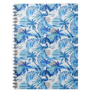 Cadernos Espiral Teste padrão tropical azul brilhante da aguarela