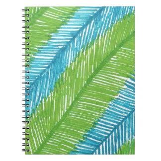Cadernos Espiral Teste padrão verde e azul das folhas de palmeira