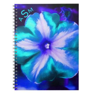 Cadernos Espiral Um fim acima de uma flor de néon elétrica do azul