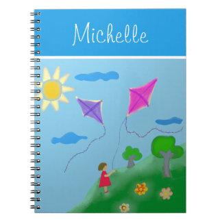 Cadernos Espiral Uma menina com os papagaios com nome