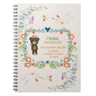 Cadernos Espiral Urso bonito, flor amarela & bebê floral da