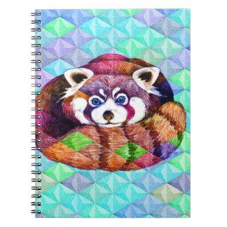 Cadernos Espiral Urso de panda vermelha no cubism de turquesa