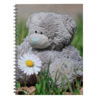 Cadernos Espiral Urso de ursinho bonito com margarida