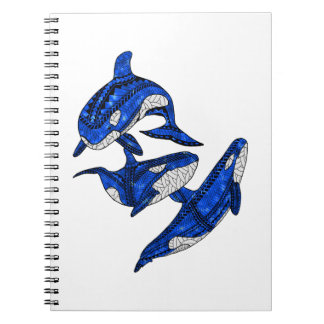 Cadernos Espiral Vagem de 3 orcas tribais