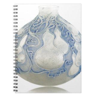 Cadernos Espiral Vaso azul do art deco do fosco com fruto