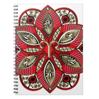 Cadernos Espiral Vermelho e Aries do sinal do zodíaco do ouro