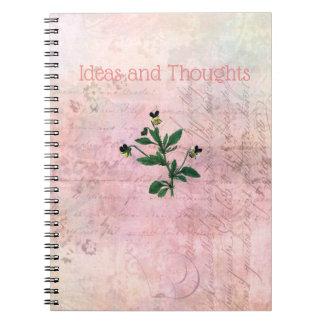 Cadernos Espiral Viola cor-de-rosa empoeirada do vintage