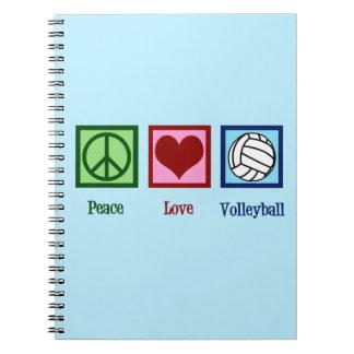 Cadernos Espiral Voleibol bonito do amor da paz