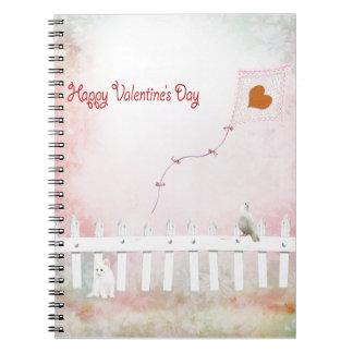 Cadernos Espiral Vôo do papagaio do coração, gatinho branco,