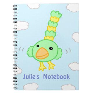 Cadernos Espiral Vôo do papagaio dos desenhos animados através do