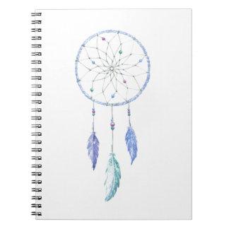 Cadernos Espiral Watercolour Dreamcatcher com 3 penas