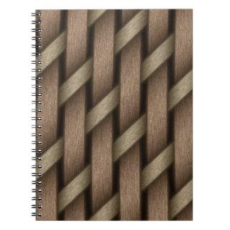 Cadernos Espiral Weave de Brown da matéria têxtil da cesta