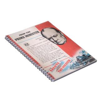 Cadernos Espiral Winston Churchill, reprodução do poster WW2