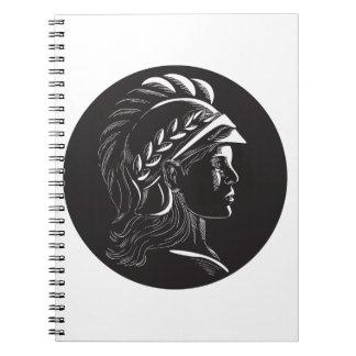 Cadernos Espiral Woodcut lateral principal do Oval do perfil de