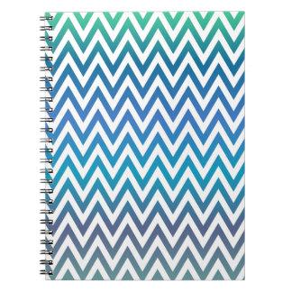 Cadernos Espiral ziguezague, colorido, engraçado, azul e verde