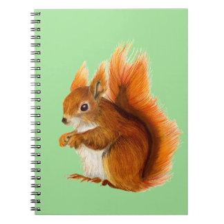 Cadernos Esquilo vermelho pintado na arte dos animais