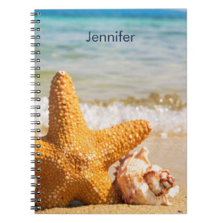 Cadernos Estrela do mar e Seashells na praia personalizada