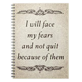 Cadernos Eu enfrentarei meus medos - Quote´s positivo