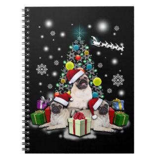 Cadernos Feliz Natal com o animal do cão do Pug