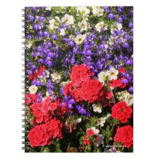 Cadernos Flores anuais roxas, vermelhas, e brancas