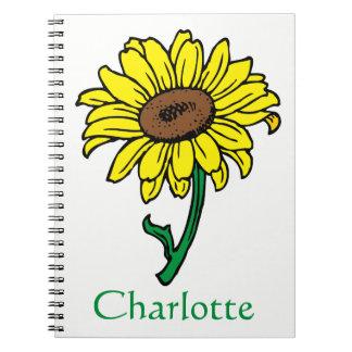 Cadernos Flores florais do verde amarelo do girassol