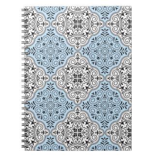 Cadernos Flourish Rococo azul do teste padrão