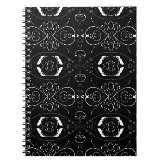 Cadernos Flourishes & enfeites elegantes do branco no preto