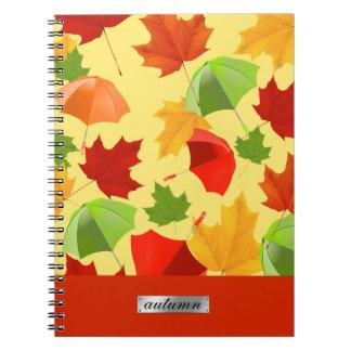 Cadernos Folhas e guarda-chuvas de outono