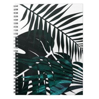 Cadernos Folhas tropicais verdes escuro metálicas